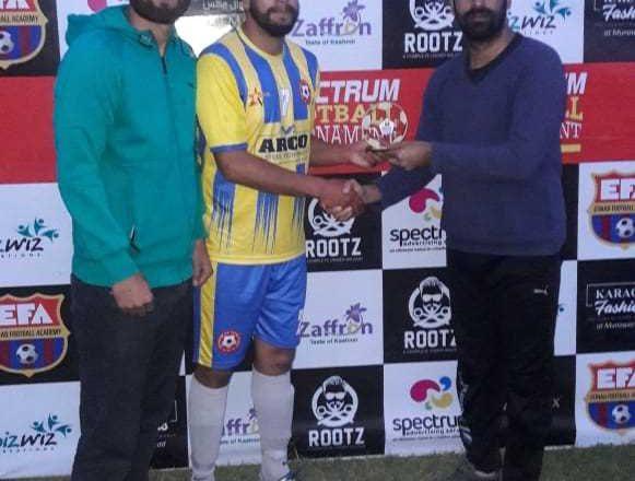 ##  J&K Spectrum Football tournament: Ibrahim FC Tengpora beats YMFA Arwani ##