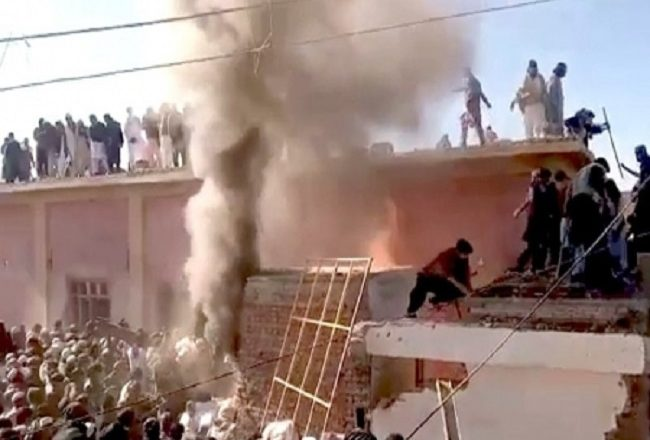 Hindu temple destroyed, set on fire by mob in Pakistan
